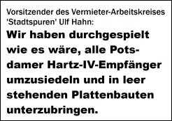 Alle Potsdamer Hartzer umsiedeln